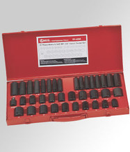 "Genius Tools SAE & Metric 3/8"" & 1/2"" Drive Impact 6 Point Socket 37 Pc Set TF-4338"