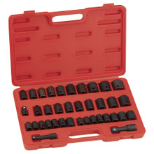 "Genius Tools SAE & Metric 3/8"" & 1/2"" Drive Impact 6 Point Socket 37 Pc Set TF-4338-1"