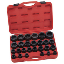 "Genius Tools SAE 3/4"" Drive Impact 6 Point Socket 27 Pc Set IS-627S"