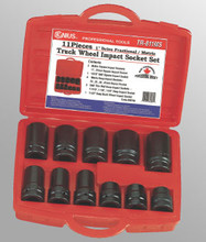 "Genius Tools SAE & Metric 1"" Drive Truck Wheel Impact 4 & 6 Point Socket 11 Pc Set TR-811MS"