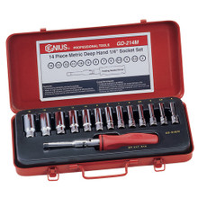 "Genius Tools 1/4"" Drive Deep Hand 6 Point Socket 14 Pc Set GD-214M"