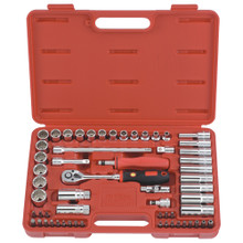 "Genius Tools Metric 3/8"" Drive Hand 12 Point Socket & Bits 59 Pc Set AC-359B"