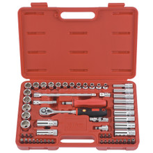 "Genius Tools Metric 3/8"" Drive Hand 6 Point Socket & Bits 59 Pc Set AC-359C"