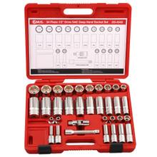 "Genius Tools SAE 1/2"" Drive Deep Hand 6 Point Socket 34 Pc Set DS-434S"