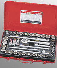 "Genius Tools SAE & Metric 1/2"" Drive Hand 6 Point Socket 46 Pc Set GS-446MS"