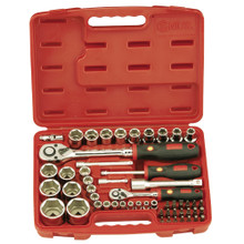 "Genius Tools Metric 1/4"" & 1/2"" Drive Hand Socket & Bit 54 Pc Set EU-2454M"