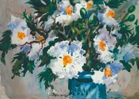 Matilija Poppies in Blue Bowl