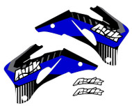 Yamaha VK Series Non Custom Shroud Decals, shown in the blue and black highlight colors. You can customize this with your choice of highlight colors.
