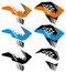 Various color ways of the KTM VK Series non custom shroud decals.