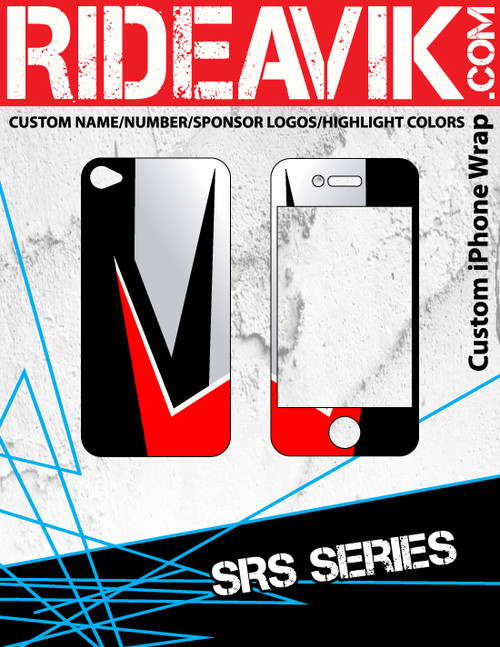 SRS series iPhone wrap. Choose your own motocross sponsors for your own custom iPhone graphics.