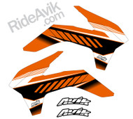 KTM Kudla ISDE13 Orange/Black custom shroud decals