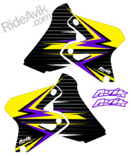 Shown in Yellow/Purple, other popular color choices are yellow/red, or yellow/blue