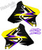 Suzuki Balt series custom shroud graphics shown in Purple/Yellow, other popular color choices are Yellow/Red, Yellow/Blue, White/Red and White/Blue.