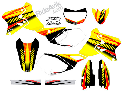 Customize these Suzuki graphics with your choice of sponsor logos, highlight colors, and number plate details.