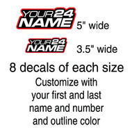 Name and Number Decals custom color outline