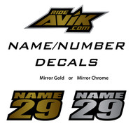 "100 qty. 3.5"" x 1.8"" Mirror Gold or Chrome name decals"