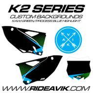 Kawasaki K2 Series Custom Backgrounds Kawi Green/ProcessBlue/Black highlight