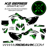 Kawasaki K2 Series Custom Graphics Kawi Green/White/Black highlight