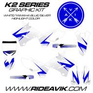 Yamaha K2 Series Custom Graphics Blue/White/Silver highlight