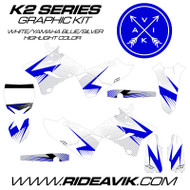 Yamaha K2 Series Graphics Blue/White/Silver highlight
