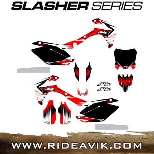 Avik custom slasher series dirt bike graphic kit, available non custom with custom backgrounds