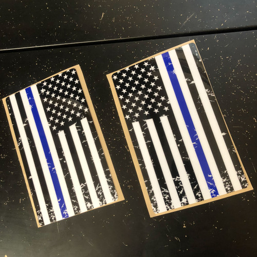 Thin blue line suspension fork tube decals 5x9