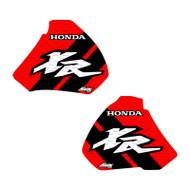 XR250 XR400 96-04 stripe shrouds background red, stripe black