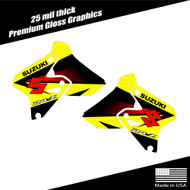 Suzuki DRZ400 Shroud Graphics Fade Yellow/Red