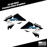 Suzuki DRZ400 Shroud Graphics Fade White/Cyan
