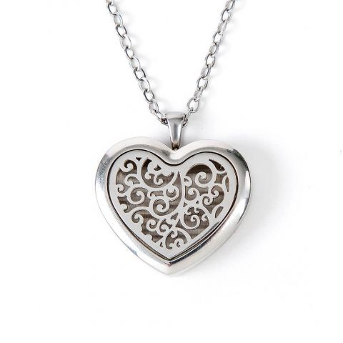 Aromatherapy Diffuser Locket for Essential Oils - Silver Heart