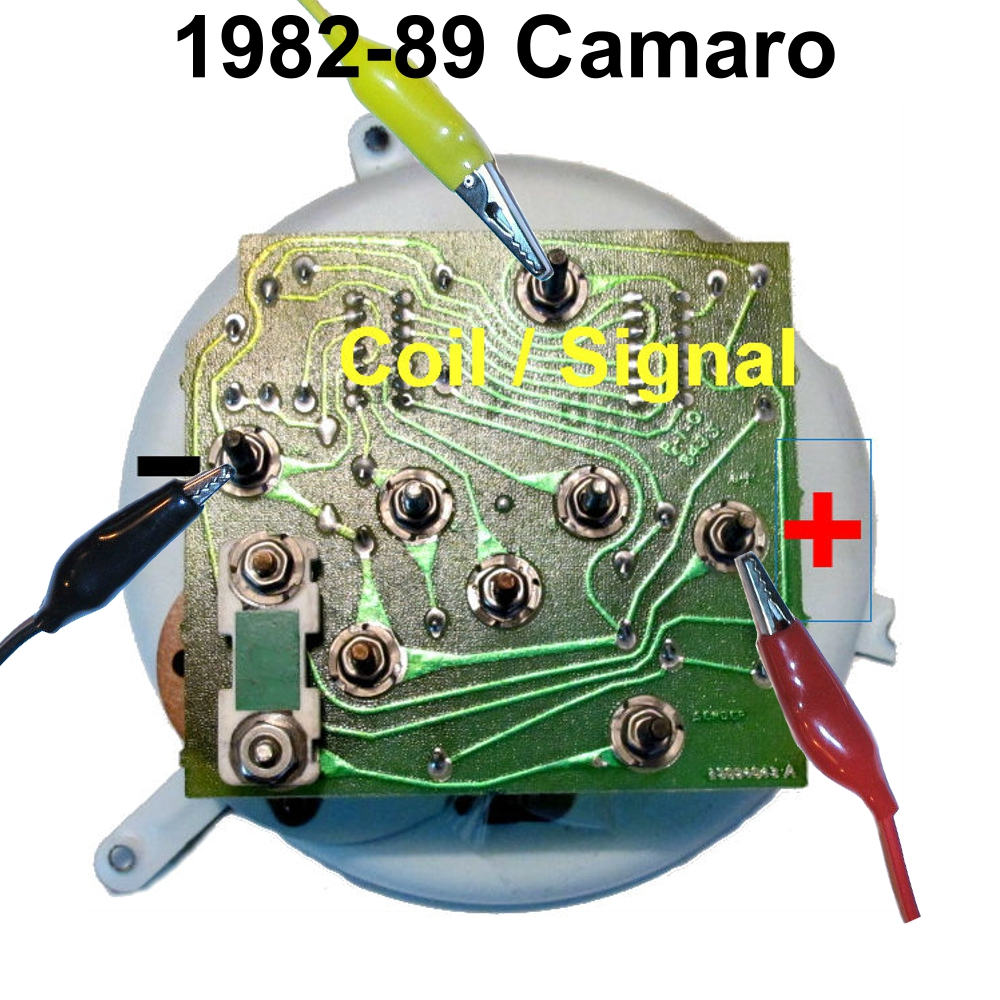82-89 Camaro tachometer test lead locations