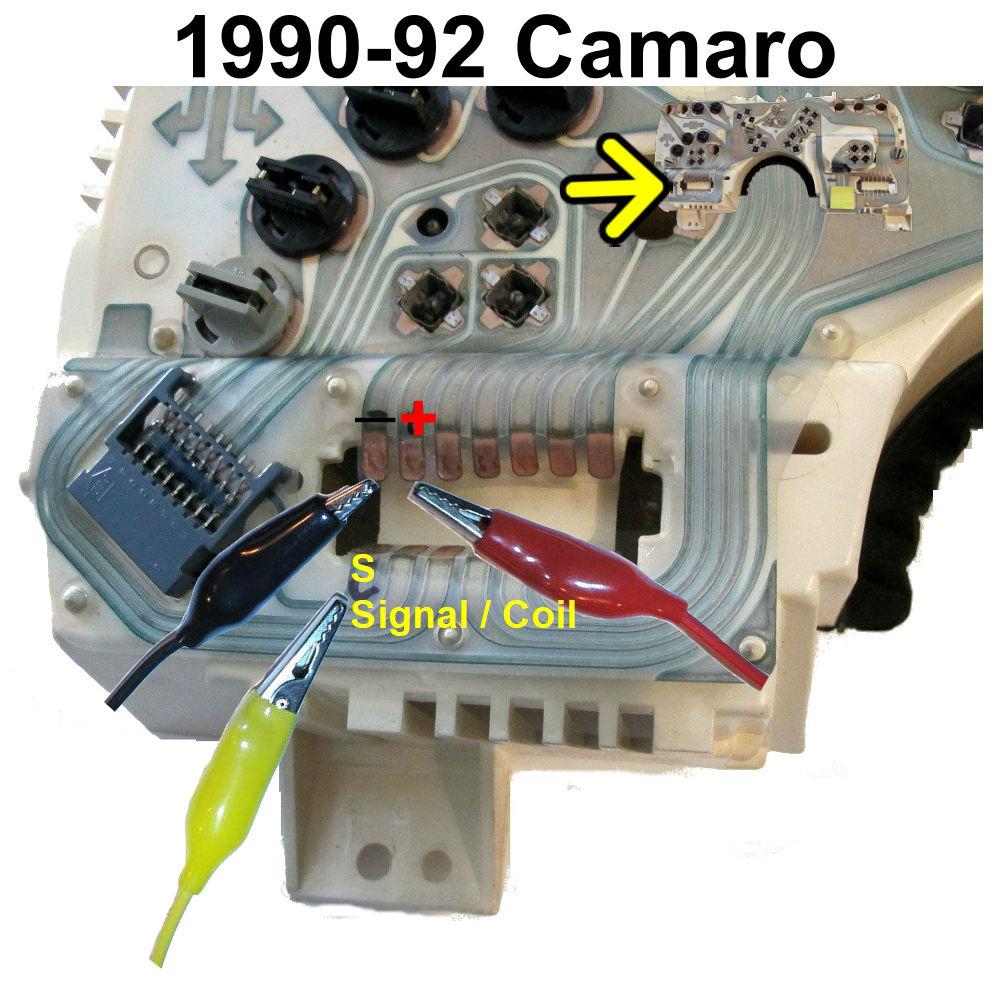 1990-92 Camaro tachometer test lead locations