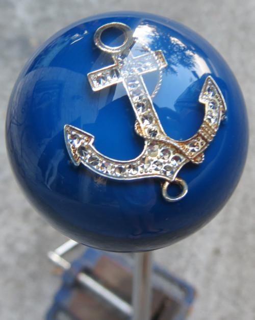 Large Blue Rhinestone Anchor Shift Knob Houseospeed