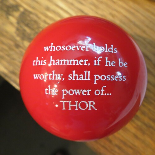 "Mjolnir ""THOR"" ""He who holds this hammer, if he be worthy, shall possess the power of Thor"" Shift Knob  RED  9/16-18 only"