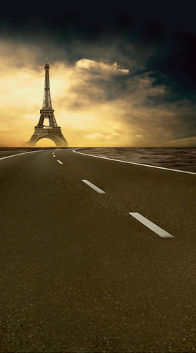 Sunset Road to Paris Backdrop