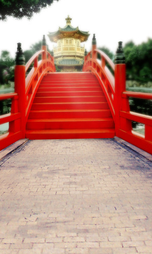 Red Chinese Bridge Backdrop