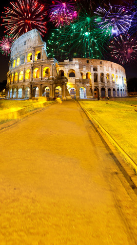 Colosseum Fireworks Backdrop