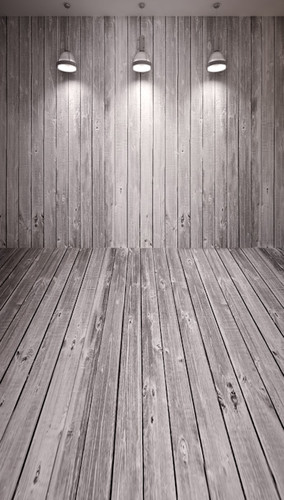 Spotlights on Wood Planks Backdrop