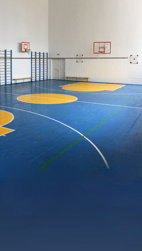 Blue Basketball Court Backdrop