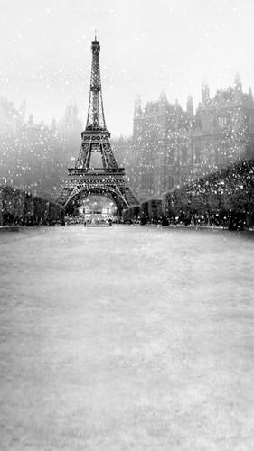 Winter Eiffel Tower Backdrop