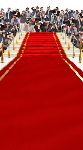 Red Carpet Stairway W Paparazzi Backdrop Photo Pie