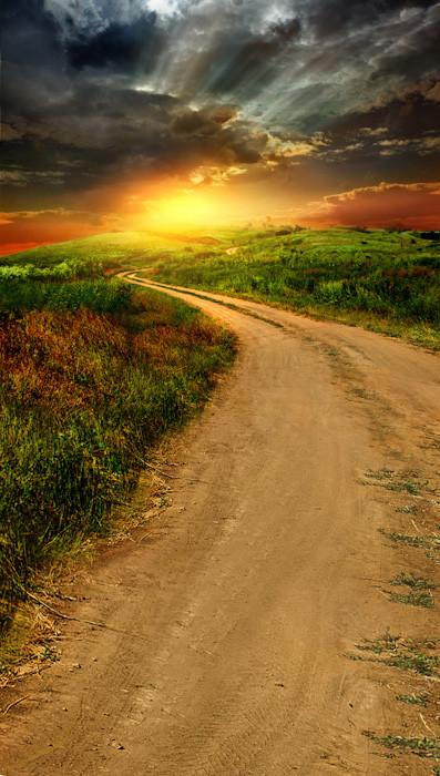 Dirt Road Sunrise Photo Pie