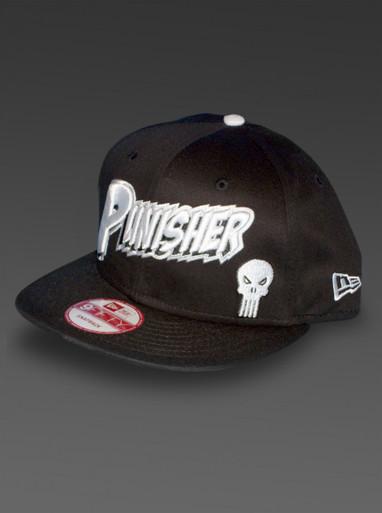 Punisher New Era 9Fifty Snapback Hat Marvel Comics Adjustable Cap in Black Left