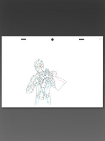 """Marvel production animation art featuring Spider-man being grabbed by Wolverine in the episode """"Freaky"""" from the Ultimate Spider-Man animated series."""