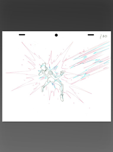 Johnny Storm get blasted animation art from Fantastic Four Worlds Greatest Heroes