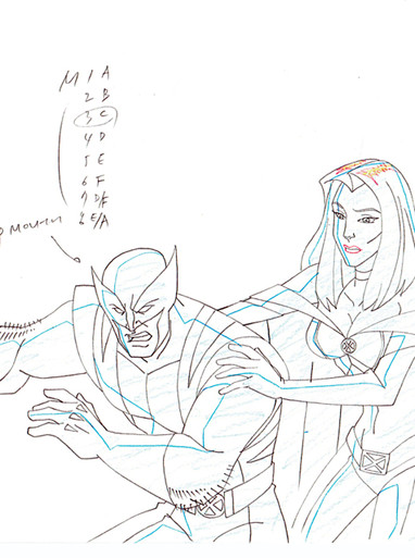 Storm & Wolverine Original Marvel Animation Art For Sale from 2009 TV Series