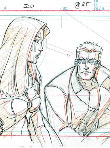 X-Men Original Art For Sale from Marvel TV Series - Cyclops & Storm scene