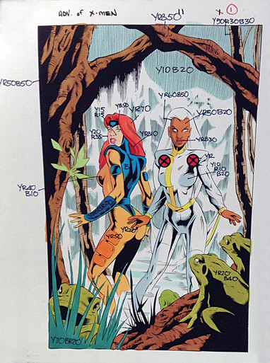 Cool Xmen Comic Art For Sale - The Adventures of the X-Men #11 - Cool Color Guide by Paul Becton - Marvel Comics