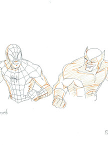 Spider-Man fights with Wolverine! Marvel Animation Artwork for sale