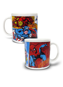 Marvel Vandor 20oz Ceramic Mug featuring Wolverine, Spider-man, Captain America and Iron man.